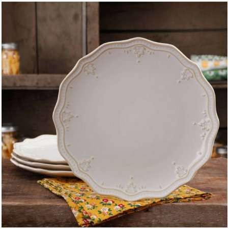 Farmhouse Lace Dinner Plate Set (Linen/Plate Set, 4-Pack), By The Pioneer Woman - Farm Plates