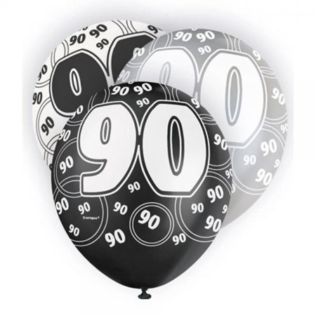 unique party 12 inch rubber balloon - 90 black