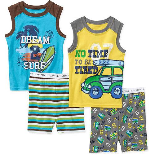 Faded Glory Baby Boys' 4 Piece Tank and Short Pajama Set