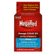 MegaRed Heart Health Extra Strength Omega-3 Krill Oil Softgels, 500 Mg, 60 Ct