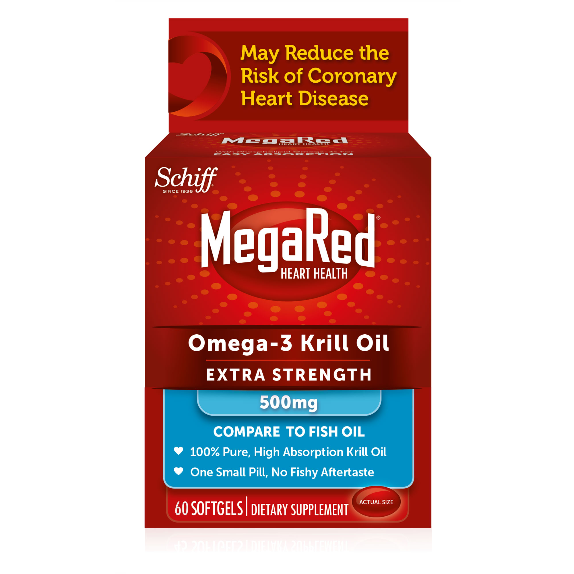 MegaRed Heart Health Omega-3 Krill Oil Extra Strength Softgel 500mg, 60ct