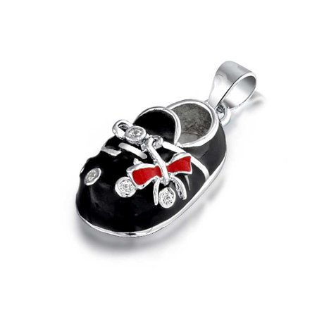 Baby Shoe Charm Pendant Gift for New Mother Women Black Red Bow Enamel CZ Engravable 925 Sterling Silver