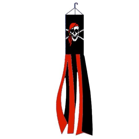 Red Bandana Jolly Roger Pirate Windsock Polyester Outdoor Garden Wind Sock 60 In