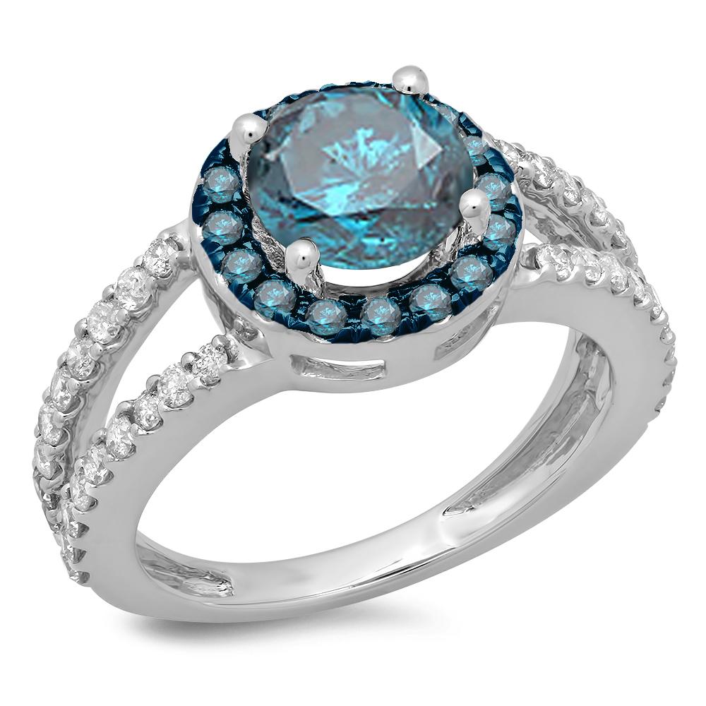 2.33 Carat (ctw) 18K White Gold Round Blue & White Diamond Ladies Bridal Split Shank Halo Style Engagement Ring