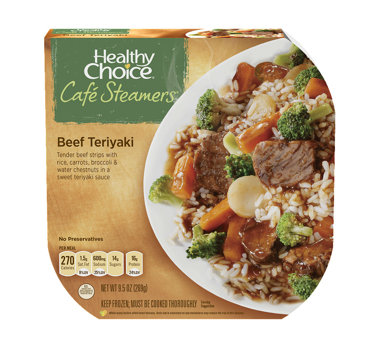 Healthy Choice Cafe Steamers Asian Inspired Beef Teriyaki, 9.5 oz