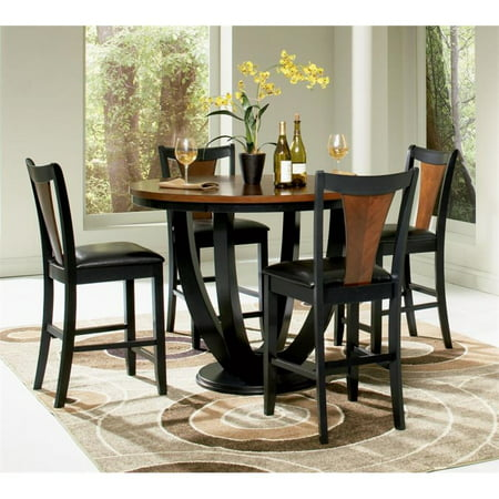 Coaster Boyer 5 Piece Counter Height Dining Set in Black and Cherry (Back Dining Set)