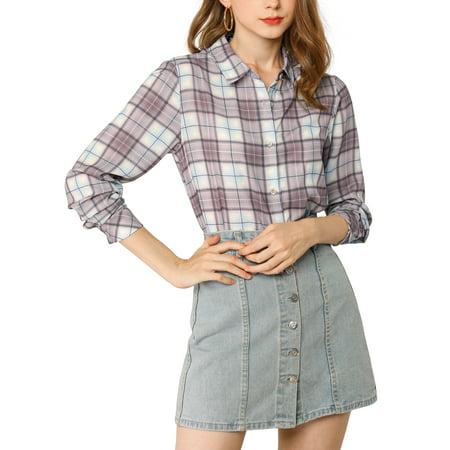 Allegra K Junior's Plaid Long Sleeves Button Up Shirt
