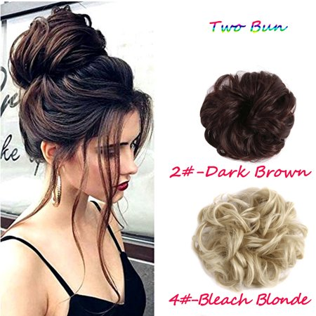 - FLORATA Hair Bun Extensions Wavy Curly Messy Hair Extensions Donut Hair Chignons Hair Piece Wig Hairpiece