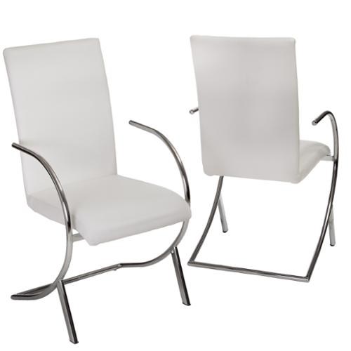 Rimma Bonded Leather Dining Armchairs, Set of 2, White by GDF Studio