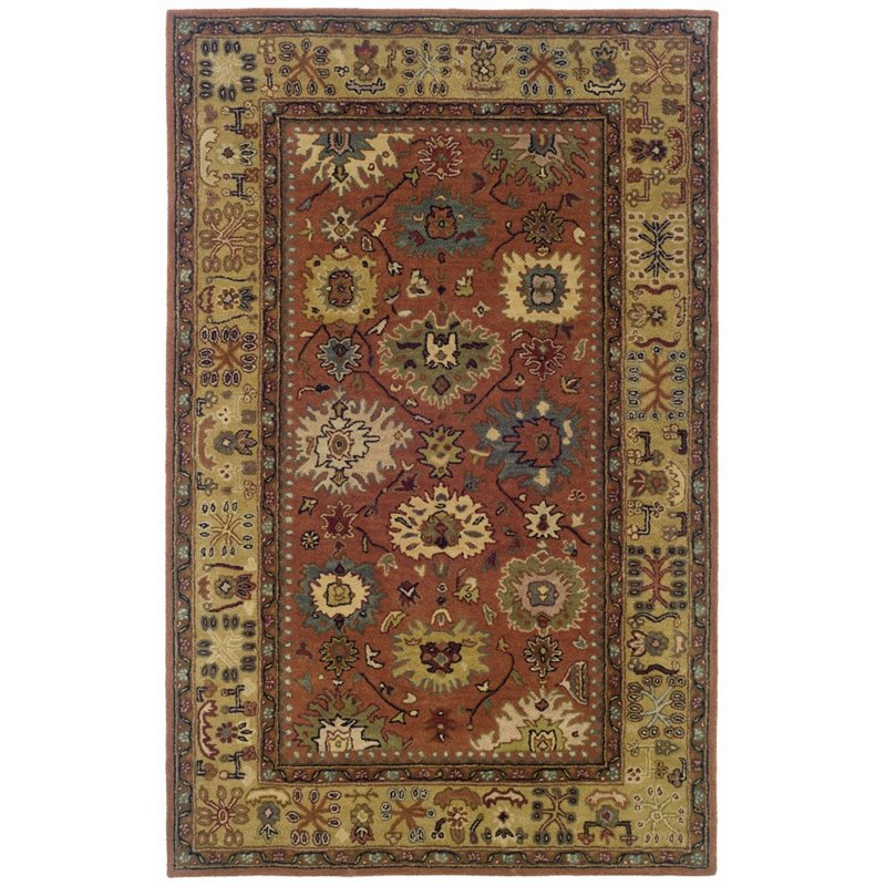 Sphinx Windsor Area Rugs - 23107 Traditional Oriental Pink Persian Vines Leaves Border Rug