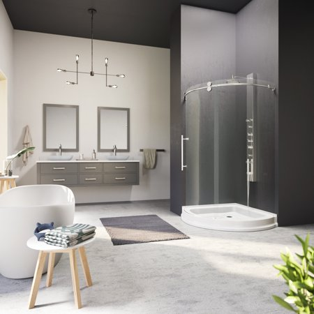 VIGO Sanibel 40 x 40 Frameless Round .3125-in. Clear Glass/Chrome Hardware Shower Enclosure Left-Sided Door with White Base 40' Round Shower Tray