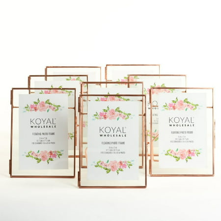 DIY Wedding Koyal Wholesale Pressed Glass Floating Photo Frames 8-Pack with Stands for Horizontal or Vertical Pictures, Table Numbers, Place Cards (Rose Gold, 5 x 7)](Diy Wedding Table Numbers)