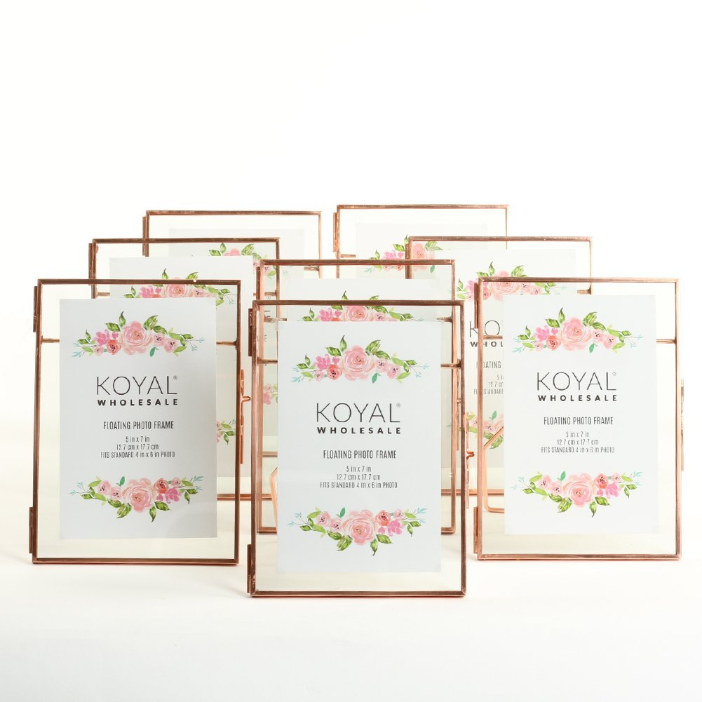 Koyal Wholesale Pressed Glass Floating Photo Frames 5 x 7 Frame, Rose Gold 8-Pack with Stands Use Horizontal or Vertical