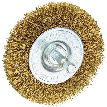 - 16791 3-Inch Course Brass Wire Wheel Brush with 1/4-Inch Hex Shank for Drill, For removing rust, scale or paint By Vermont American