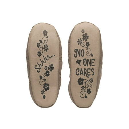 (Faceplant Dreams Women's Shhh, No One Cares Slippers- Fleece Lined Booties)