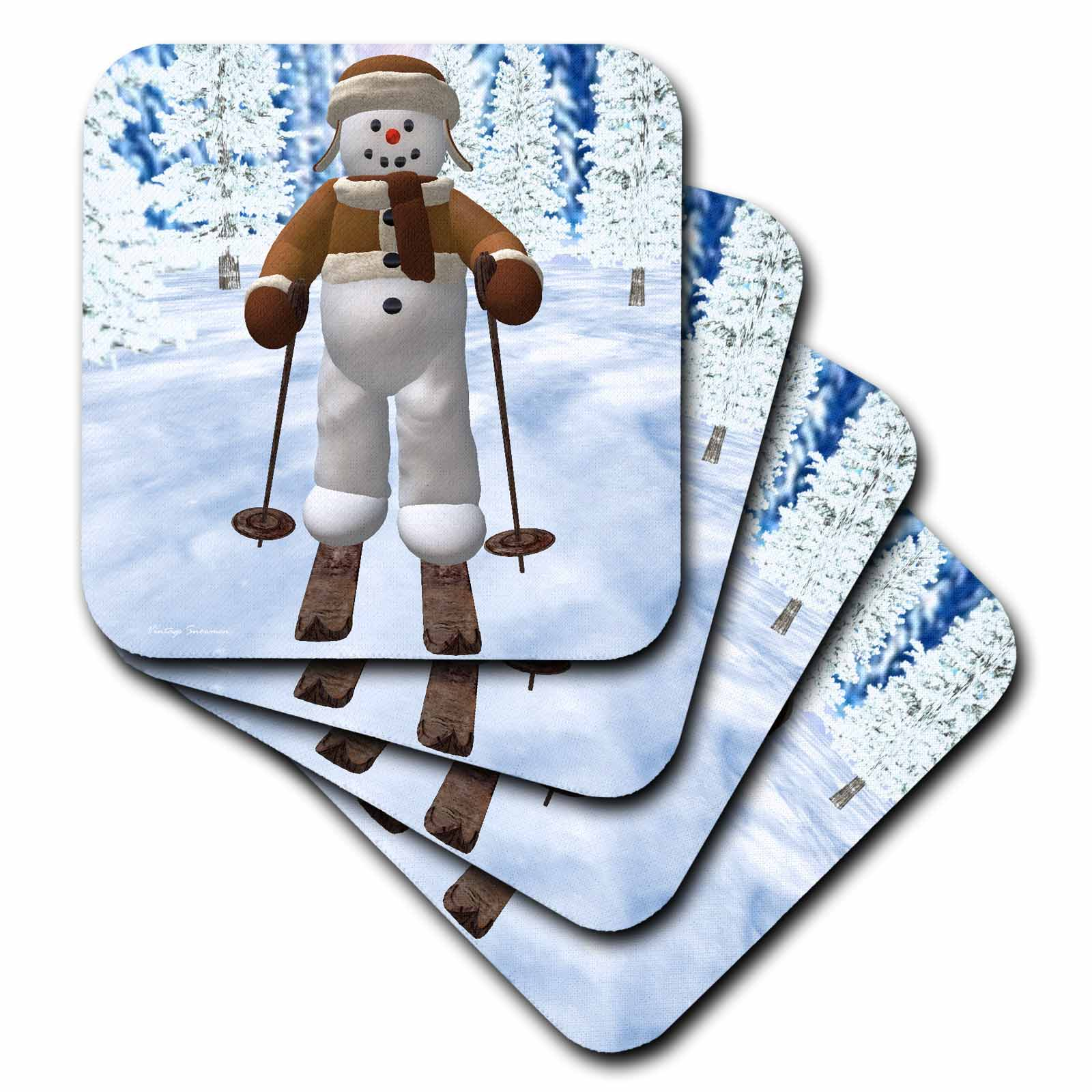 3dRose Skiing Snowman, Ceramic Tile Coasters, set of 4 by 3dRose