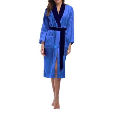 (Skylinewears Women's 100% Terry Cotton Bathrobe Toweling Gown Robe Two tone Blue Small)