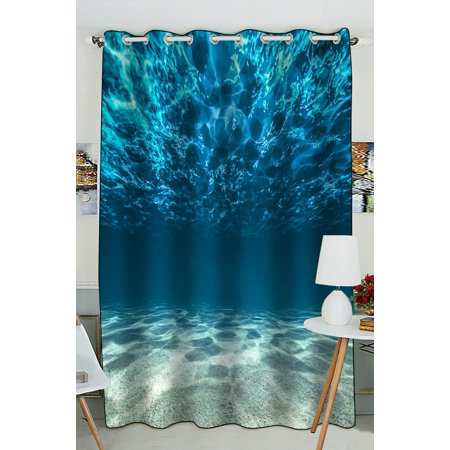 PHFZK Underwater Window Curtain, Bright Gravelly Bottom and Wavy Surface Tropical Seascape Ocean View Window Curtain Blackout Curtain For Bedroom living Room Kitchen Room 52x84 inches One