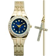 Women's Gold-Tone Blue Dial Watch and Bracelet Gift Set, Bangle Bracelet with Cross Charm