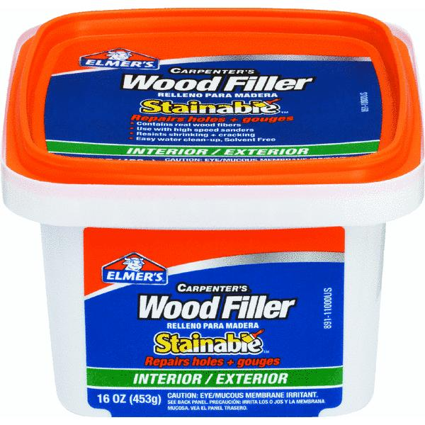 Elmer's Carpenter's Wood Filler, Interior/Exterior Stainable, 16oz