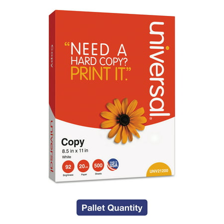 - Universal Copy Paper, 92 Brightness, 20 lb, 8-1/2 x 11, White, 200,000 Sheets/PLT