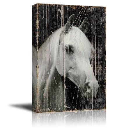 wall26 Canvas Print Wall Art - Head of a White Horse on Rustic Style Wood Background - Gallery Wrap Modern Home Decor | Ready to Hang - 16x24
