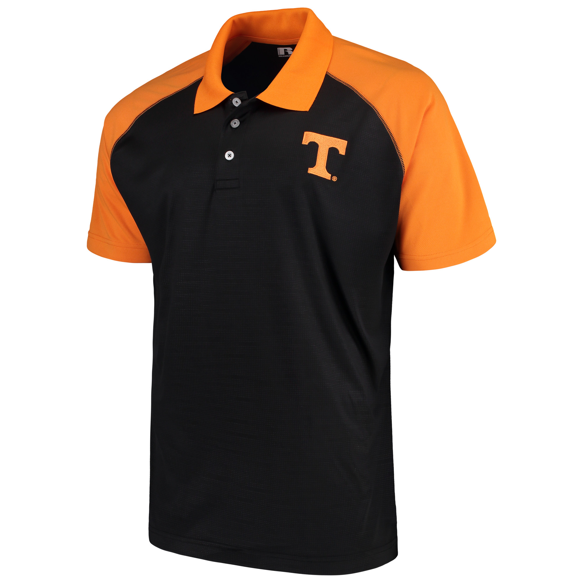 Men's Russell Black Tennessee Volunteers Color Block Polo