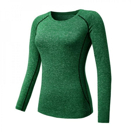 [Big Save!]Women Cozy Quick Dry Tops Compression Base Layer Athletic Long Sleeve T-Shirts Sports For Running Cycling Fitness Yoga Gym Green XXL thumbnail