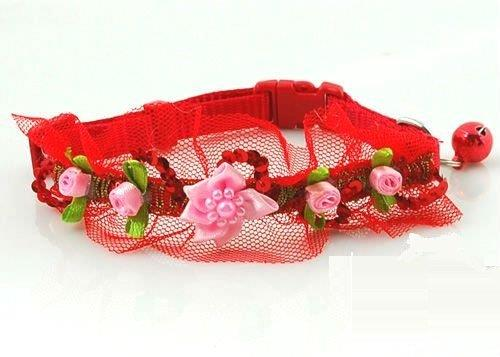 Lightahead® fancy lace Pet Collar with beads, bell and flowers for your dog cat, Red