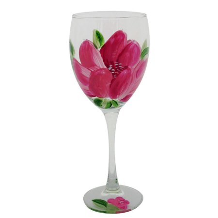 Glass Stemware (Set of 2 Pink Peony Floral Hand Painted Wine Drinking Stemware Glasses - 10.5 Ounces)