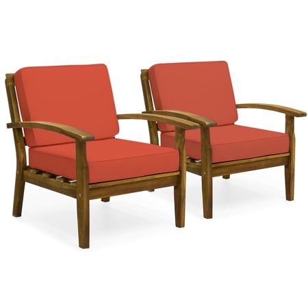 Best Choice Products Set of 2 Outdoor Acacia Wood Club Chairs with Cushions,