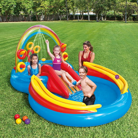 Intex Rainbow Ring Inflatable Play Center with Sprayer, 117
