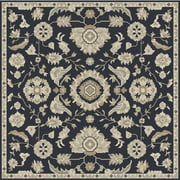 6' x 6' Elegant Leaves Navy Blue and Sandy Beige Square Wool Area Throw Rug