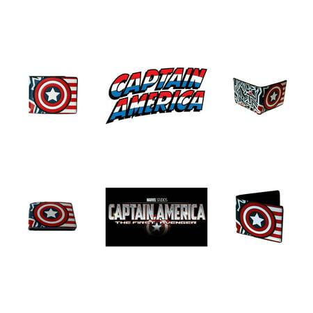 Superheroes Marvel Comics Avengers Captain America Shield Logo Bi-fold Mens Boys Wallet with Gift Box