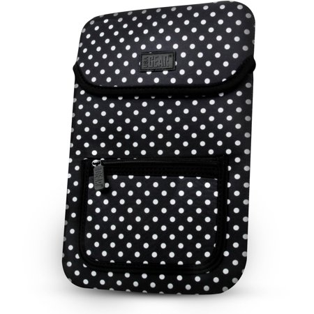 Neoprene Tablet Carrying Case Cover with Polka Dot Design , Accessory Pocket & Easy Access by USA GEAR - Works with Wacom Bamboo Capture , Connect , Splash Pen Tablet (NOT FOR BAMBOO CREATE)