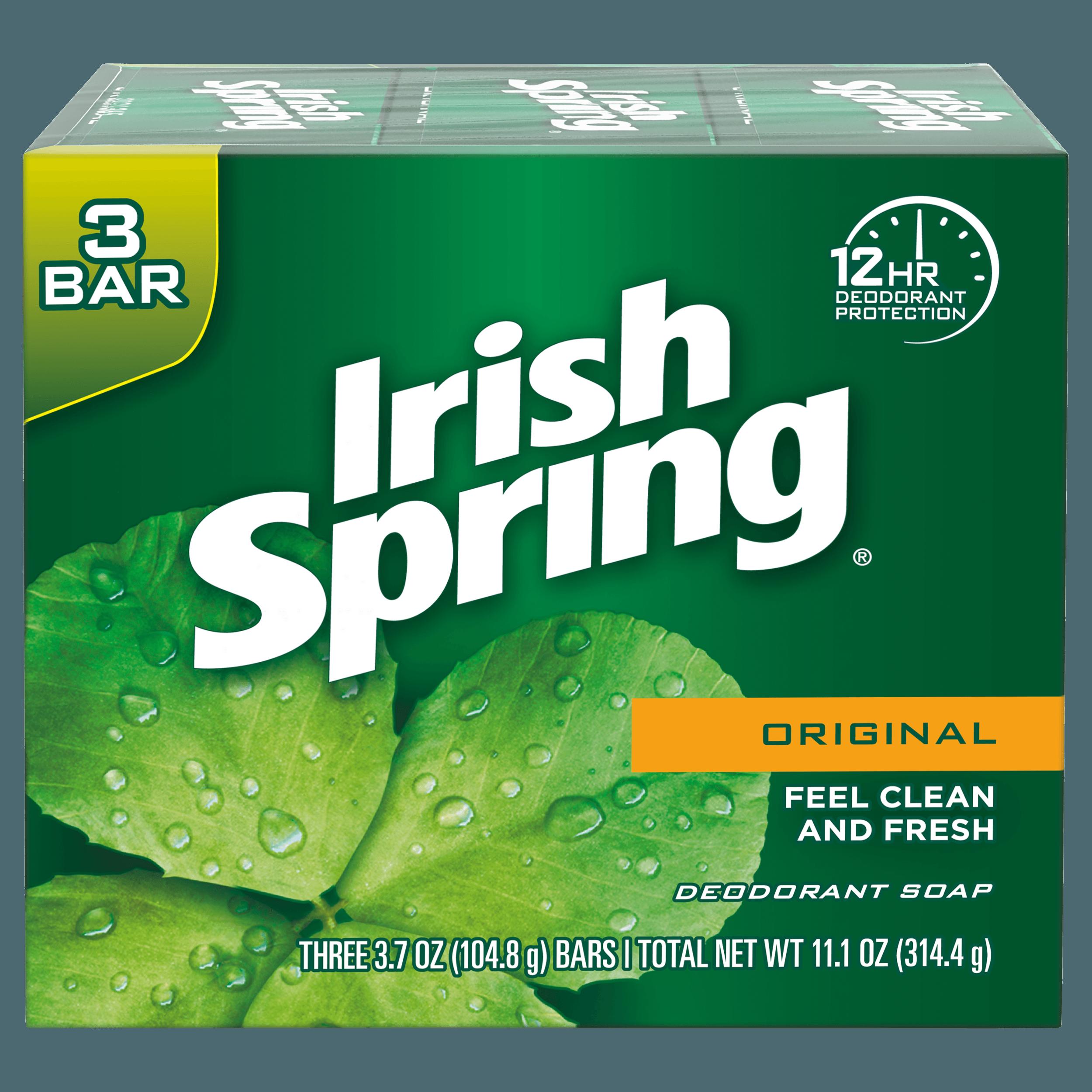 Irish Spring Original, Deodorant Bar Soap, 3.7 Ounce, 3 Bar Pack