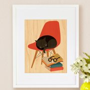 Petit Collage Book Cat, Small Framed Art