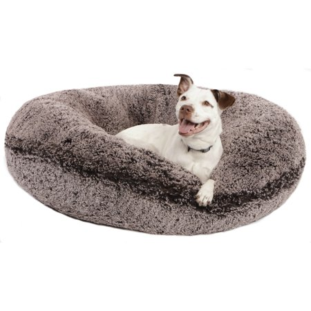 Bessie and Barnie Signature Frosted Willow Luxury Shag Extra Plush Faux Fur Bagel Pet/ Dog (Luxury Dog Furniture)
