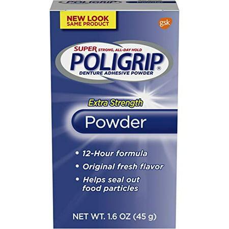Extra Strength Adhesive - 3 Pack Super Poligrip Extra Strength 12h Denture Adhesive Powder, 1.6 Oz Each