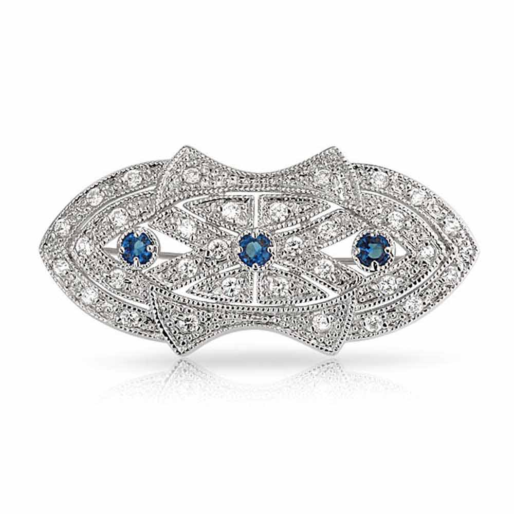 Bling Jewelry Art Deco Style Simulated Sapphire Cubic Zirconia Brooch Rhodium Plated by Bling Jewelry