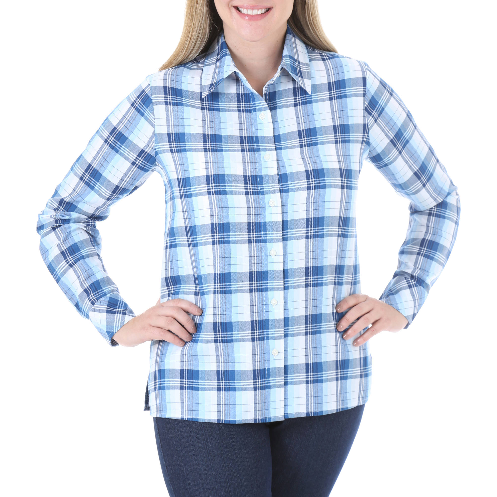 Chic Womens Comfort Collection Classic Plaid Shirt