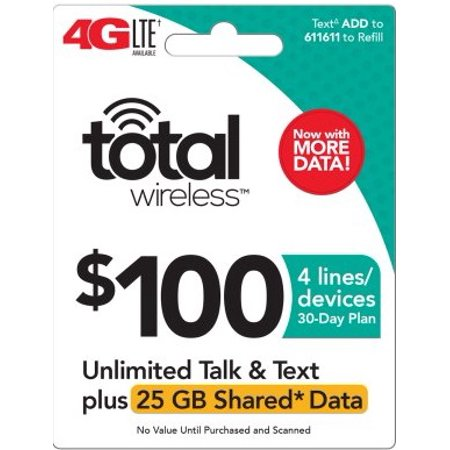 Total Wireless $100 Shared* Family Plan (Email Delivery) Extra Data Promotion (Best Wireless Customer Service)