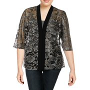 Alex Evenings Womens Plus Mesh Embroidered Jacket