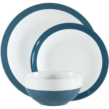Mainstays Angela Collection Aqua & White Stoneware Dinnerware Set, 12 Count