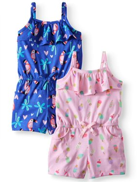 4cbf9eefe Product Image Wonder Nation Printed Rompers, 2-pack (Toddler Girls)