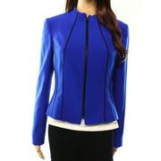 Kasper NEW Blue Black Women's Size 4 Piped Full-Zip Collarless Jacket $99