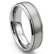 Andrea Jewelers Titanium 7mm Grooved Wedding Band Ring Sz 8.5