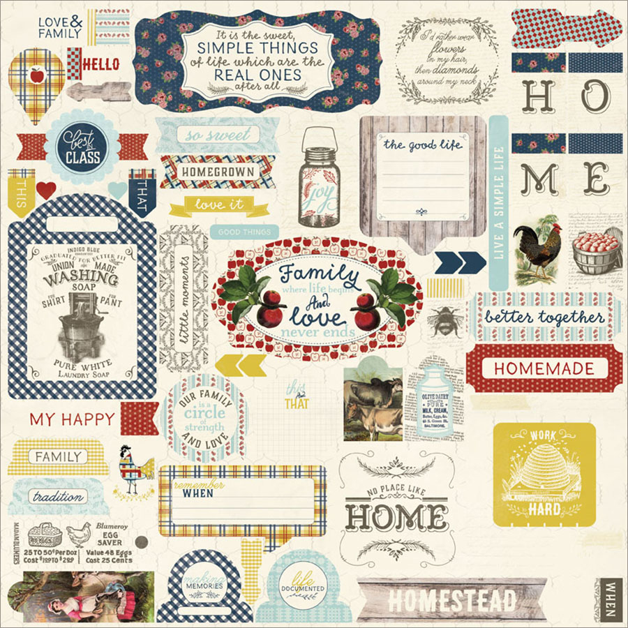 "Homestead Cardstock Stickers, 12"" x 12"", Details"