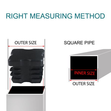 """Square Tube Insert Cover Furniture Protector for 0.87"""" to 0.94"""" Inner Size 10pcs - image 4 de 7"""