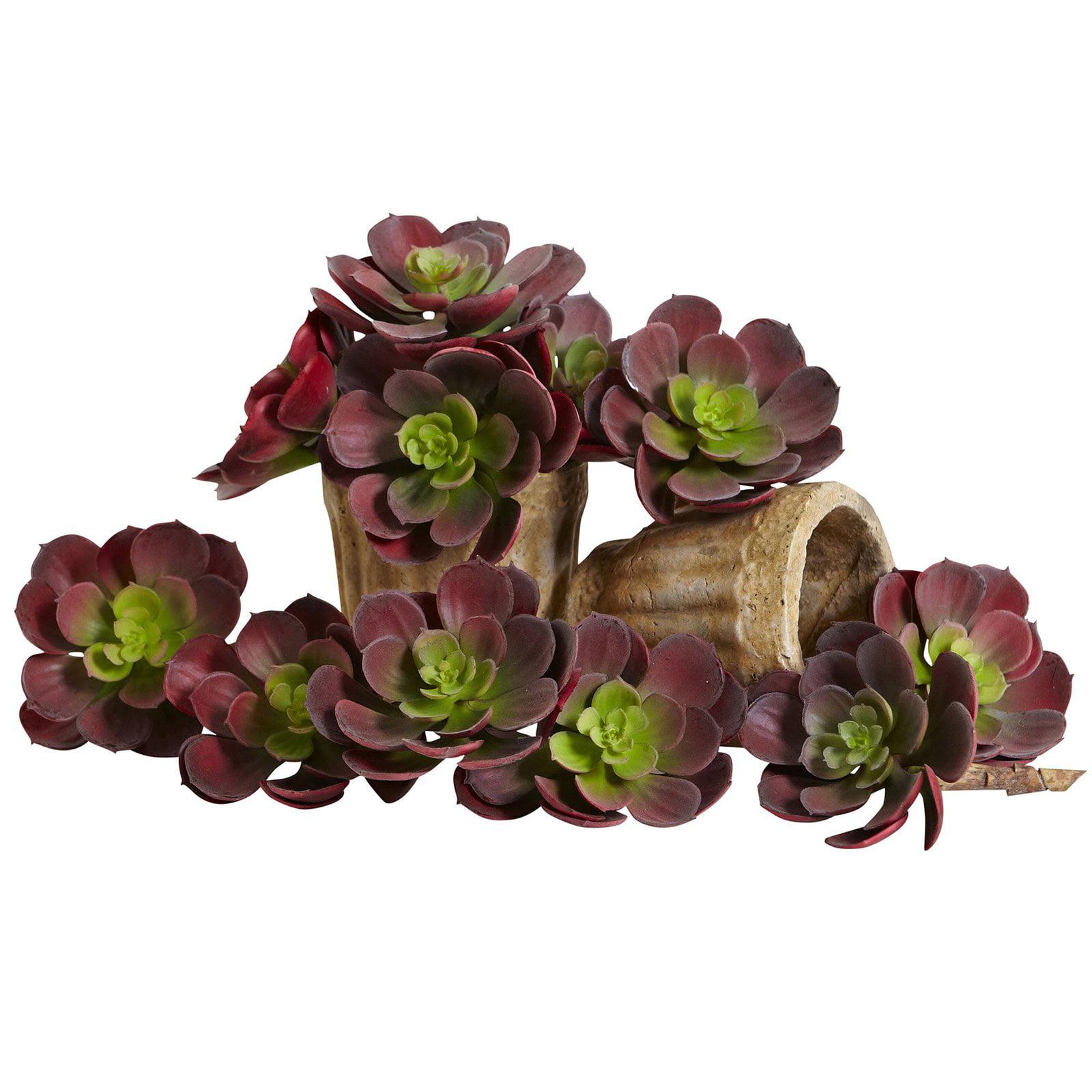 Nearly Natural 5 in. Echeveria Succulent Silk Plant - Set of 12